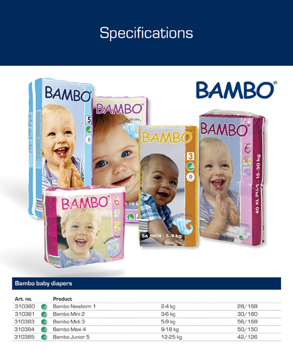 Bambo Baby Diapers with all sizes